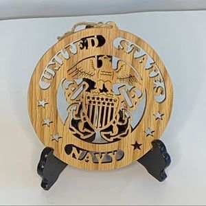"U.S. Navy laser cut oak wood round plaque 6"" 8033"